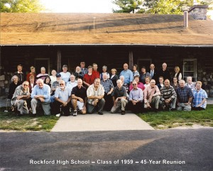 CLASS OF '59—The Rockford High School class of 1959. Its 45th reunion was held at the Rockford Community Cabin five years ago.