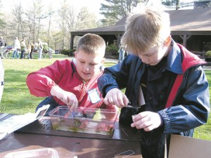 UP CLOSE AND PERSONAL—Boys at last year's Bear Creek Waterfest enjoy looking at creatures of the creek up close at the microscope magic station.
