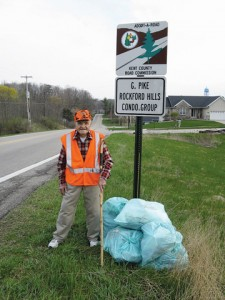 """STANDING TALL""— Pictured is Gerry Pike, soon to be 99 years old, standing next to a pile of Kent County Adopt-A-Road pick-up bags containing trash collected by friends along Gerry's adopted stretch of road. Thanks, Gerry!"