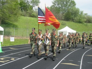 Marine Color Guard walks last year's Relay For Life.