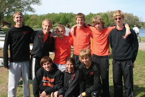 Rockford's men's lightweight eight team of (front, l–r) Kyle Brown, Kylie Torres, Isaac Blenman; (back, l–r) Tyler Truxton, Troy Paskiewicz, Josh Houn, Tyler McDaniel, Sam Berndt and Trevor Holloway helps the Rams to victory.