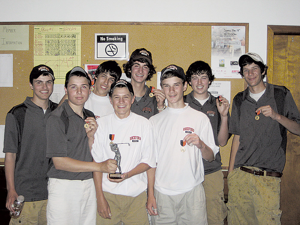 After hosting the Junior Varsity Invitational at Braeside Golf Course, the Rams' junior varsity A team celebrates. Pictured are (front, l–r) Jake Stephan, Alec DeWitt, Steve Mette; (back) Justin Ullrey, David Keller, Scott Dater, Nick Delafuente and David VonEschen (not pictured, Matt Smith).