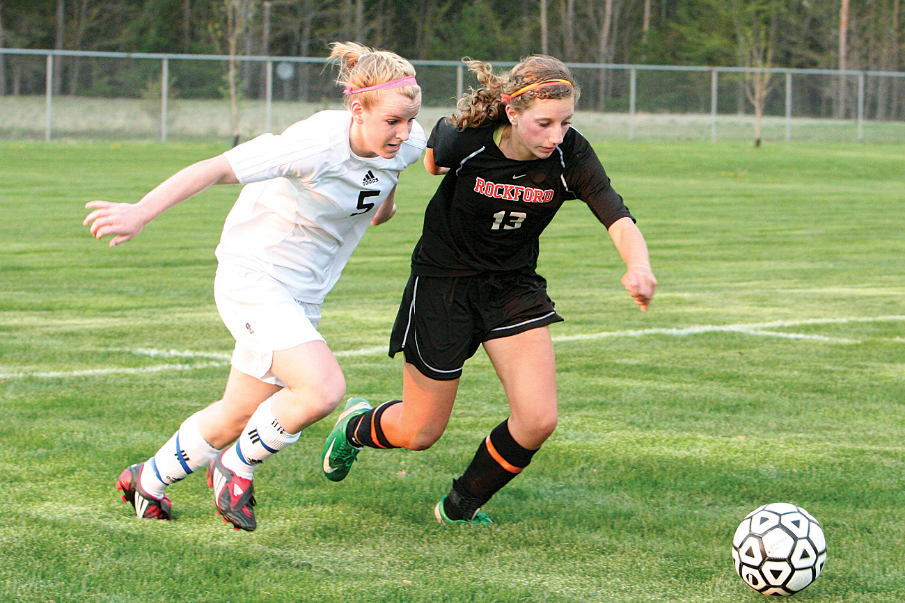 Rams junior defender Celine Stallmer (#13) breaks away from her mark.	Photo by BRET DOUD