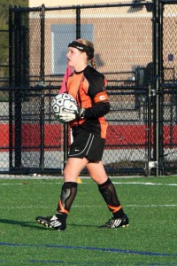 Senior goalkeeper Kristin Darby prepares to punt the ball.Photo by BRET DOUD
