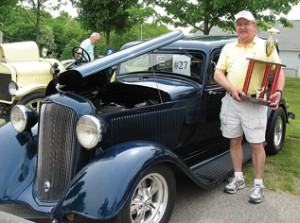 THEY DON'T MAKE THEM LIKE THIS ANYMORE—James Razmus, Lake Bella Vista resident, took third place with this 1933 Plymouth he's had about six years.