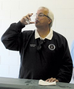 WHAT YOU  DO FOR YOUR VOTERS—Drink effluent. Tom Pearce downed a glass of treated wastewater along with township officials and a variety of other brave individuals. This morning this liquid was in someone's toilet.