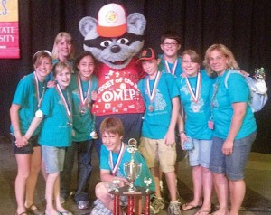 TOP OF THE WORLD—The North Rockford Middle School Odyssey of the Mind team took second place in their division, topped by a Singapore team by five points.
