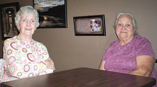 SPECIAL GRANNIES—Millie Anderson (left) and Gisela Leichty (right) share stories of their grandchildren.