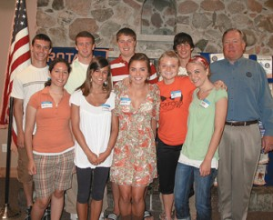 This year's Rockford students selected to attend the Life Leadership conference are (back, l–r) Ryan Romain, Stephen May, Brandon Roberts, Drake Veitenheimer; (front) Marissa Saladin, Lindsey Blodgett, Margaret Smiley, Alison Prus and Kelsey Schwiebert, along with (far right) Rotarian Rick Ehinger. The three-day conferen