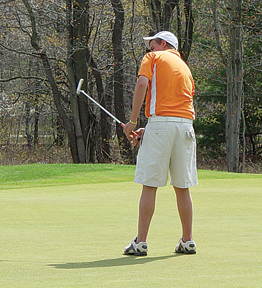 Trent Davison goes for a birdie, leading the Rams with consistent performances all season.