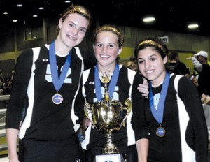 Bringing home first-place medals for the MVA 15 Black team is (l–r) Andrea Kacsits, Murphy Heyer and Sidney Rodriguez, all of Rockford.