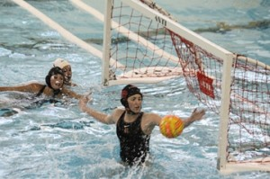Rams senior goalie Kaitlyn Korhorn is ranked fifth in saves among Rockford varsity water polo goalkeepers.