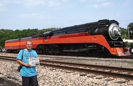 """A RARE SIGHTING—The Southern Pacific GS-4 """"Daylight"""" Steam Engine was recently in Michigan City, Ind. during a layover before continuing"""