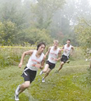 Devon Liu, Steven Ek and Ryan Romain round a corner in the cross country meet in Bath on Saturday, Sept. 12. The Rams finished on top to bring home the championship trophy.