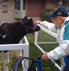 Bill Paull celebrating his 100th birthday this month enjoys the animals too.