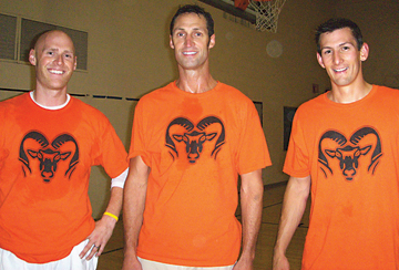 TARGETS—Dodgeball defenders Mr. Karel, Mr. Hoogerland and Mr. Tucker gear up to compete against students.