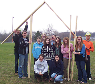 BE A PART OF THE HOUSE THAT YOUTH INITIATIVE BUILT—A stud sale allows people, groups or businesses to personalize a beam in a Habitat for Humanity house being built here in Rockford. It is the Rockford High School organization's project for this year.