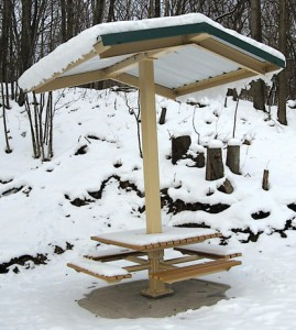 At the halfway point of the 2010 Friends of the White Pine Trail Resolution Walk is this permanently installed, metal-covered picnic table that was generously funded by the Wolverine World Wide Foundation.