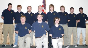 This year's Rockford Michigan State Police Explorers group includes Alex Kilvington (center, front), who helped a fellow teen with a diabetic reaction during Rockford's Santa Parade December 5. Also pictured are (not in order) Christian Bomer, Samuel Griswold, Zachary Johnson, Grant Longberg, Zachary McKale, Joseph Punt, Sgt. Amber Sauer, Jacob Scheib, Lt. Jonathan Spanding, and Joshua VanKammen (Joseph Flores not pictured).