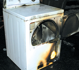 This dryer's clogged vent started a fire Tuesday, Dec. 8 in Courtland Township.