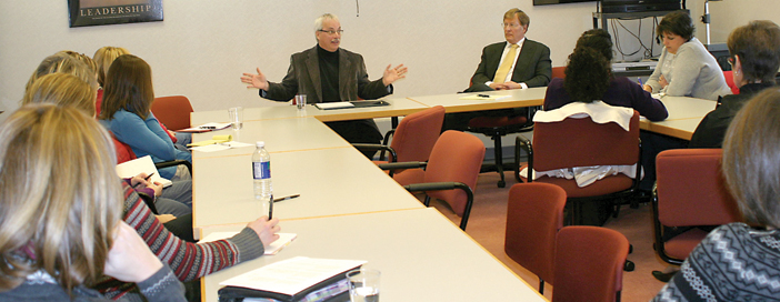 SCHOOL AID SOLUTIONS—State Representative Tom Pearce speaks at a meeting held at Rockford Public Schools between our lawmakers, school staff and recently laid off employees. Possible solutions to the state crisis in school funding were discussed.