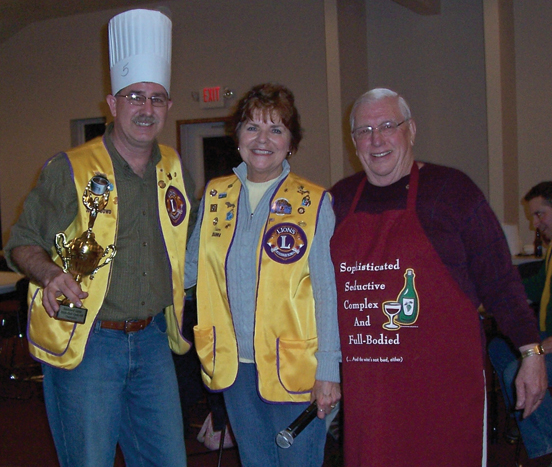 "Pictured are (l–r) left to right  John O""Dowd (best chili), President Dianna Robach-VanAntwerp, and Chairperson"