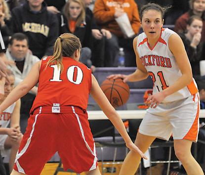 Rockford senior Megan Kelley sets up the Ram offense.