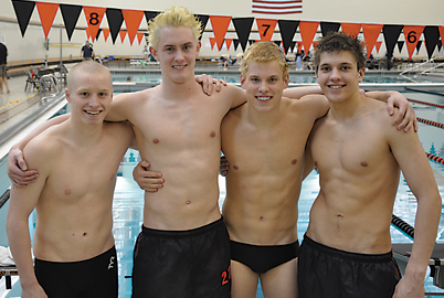 Crushing the existing 2004 200-yard medley relay pool record on February 27 with a time of 1:37.06 were (l–r) sophomore Josh