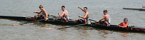 Rockford's men's junior four boat of (l–r) Austin Burris, Alex Welch, Bryce Vanderberg, TJ Jacobs and coxswain Mark Nadeau celebrate their second-place finish.