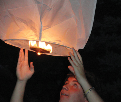 Nate, a sophomore at Rockford, sets off a wish lantern in honor of his father, who died in a car accident a year ago on September 15.