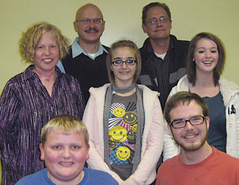 """Cast members for the Kent's 2010 performance of """"A Christmas Carol"""" include (front row, l–r) Brandyn Kirchhoff, Daniel A. Kavanaugh; (middle row) Katie Zank, Bri Fredrickson, Jenna Johnson; (back row) Russ Cole and Scott Phillips."""