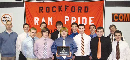 The Rockford Rams receiving second-place Academic All State honors are (front row, l–r) Zack Nelson, Spencer Sims, Adam Kroll, Connor Darby, Jesse Edick, Cameron Borg; (back) Coach Joe Schwander, Mark LaPrairie, Bryce Vanderberg, Austin Burris, Steven Mette, Colin Remtema and Coach Ralph Munger.