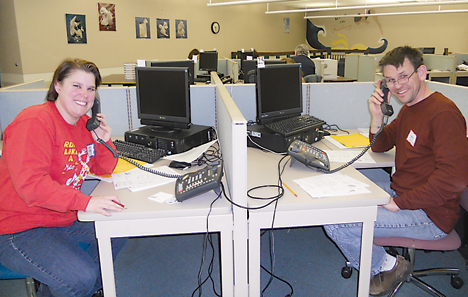 Linda and Peter Skornia volunteer on the phones during Rockford Education Foundation's annual Phone-a-thon.