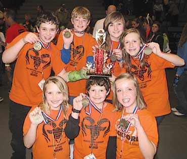 This East Rockford Middle School Odyssey of the Mind team took first place in Division II at state competition. Pict