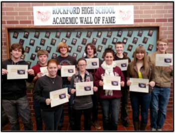 Plainfield Township Clerk Scott Harvey recently recognized several students from Rockford High School for their work during the November election, in which students volunteered to receive training and worked as volunteers at various election precincts throughout the community.