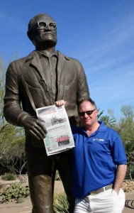 Rockford resident John Hogan escaped Michigan's wintery landscape to enjoy time with the good people of Arizona. He was there for the Phoenix Open golf tournament and couldn't resist sharing the January 24 issue of The Rockford Squire Newspaper. This photo was taken Sunday, February 3 at Barry Goldwater Memorial Park in nearby Paradise Valley.The park includes native plants and a bronze statue of the five-term U.S. Senator and 1964 presidential candidate. In the firstphoto, it looks as though the Goldwater statue is trying to take the Squire from me. The weather was great - sunny skies and temperatures in the low to mid-70s.As for the2013 Phoenix Open, it ranJan. 31 through Feb. 3 inScottsdale, Ariz.and was won byPhil Mickelson.