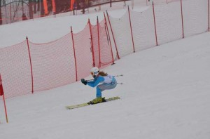 Ram Emily Macauley tears up the slopes during regional action at Boyne Highlands.