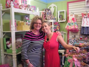 Lynette Bowser, owner of Sassy Pants Boutique, is pictured with Vera Bradley granddaughter Kathy Reedy Ray. Ray visited Rockford to celebrate the store's carrying Vera Bradley's new line for moms and babies.
