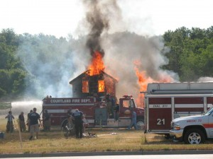 Five fire departments participated in a training practice that  brought down a 113-year old farm house on Northland Drive. According to Courtland Fire Chief Mickey Davis, the training drills are dangerous but are a valuable resource for local departments.