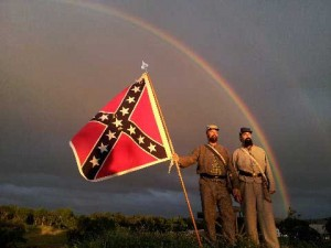 North Carolina troops overlooking the battlefield at Pickett's Charge in Gettysburg. Photo courtesy of Bill Coe.