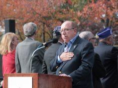Richard Dorsey leads the Pledge of Allegiance on Veteran's Day, November 11th, 2016.